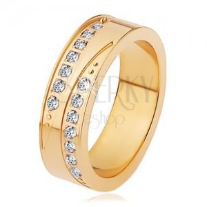 Acél gyűrű arany színben - hosszúkás bemetszések, csillogó cirkóniás vonal