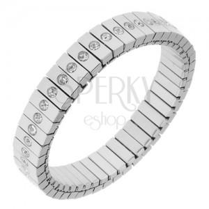 Rugalmas karkötő acélból, ezüst színben, téglalap alakú elemek, átlátszó cirkóniák