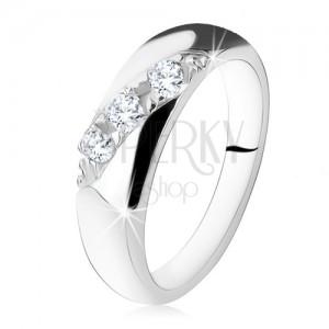 Eljegyzési gyűrű, diagonális vonal, kerek, átlátszó cirkóniákból, 925 ezüst