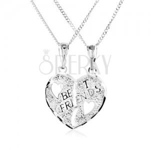 925 ezüst nyakék - kettős medál, széttört szív, BEST FRIENDS felirat