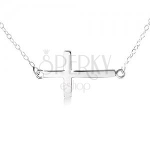 925 ezüst nyakék, finom lánc, lapos, fényes kereszt alakú medál