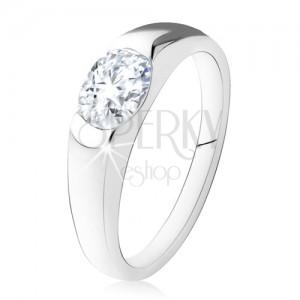 Eljegyzési gyűrű, 925 ezüstből, ovális, átlátszó kő, sima szárak