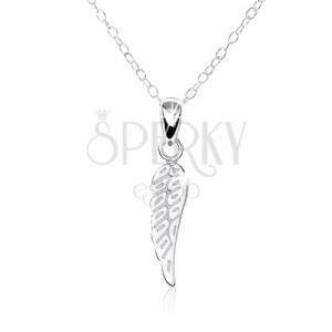 925 ezüst nyakék - gravírozott, lapos, angyal szárny