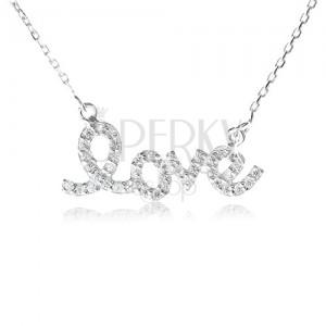 """925 ezüst nyakék, """"love"""" medál cirkóniákkal, finom lánc"""