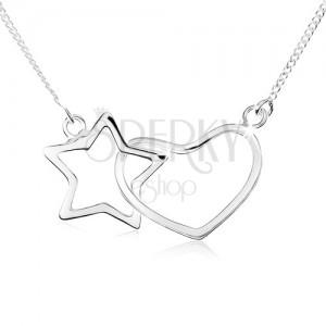 Nyakék 925 ezüstből, csillag és szimetrikus szív kontúr