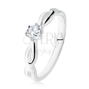 925 ezüst eljegyzési gyűrű, átlátszó kő, spirálos szárak