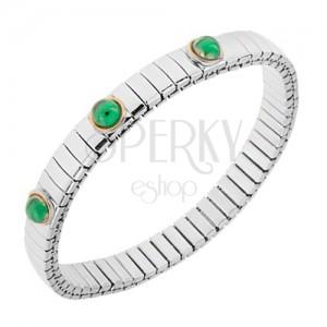 Széthúzható karkötő acélból, ezüst színben, smaragdzöld golyók