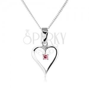 925 ezüst nyakék, szív körvonal, rózsaszín cirkóniával díszítve
