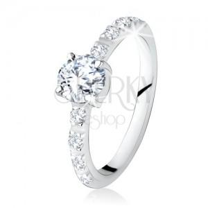 925 ezüst gyűrű, kerek, átlátszó kő, cirkóniákkal díszített szárak