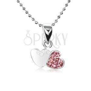 925 ezüst nyakék, apró szemekből álló lánc, két szív, rózsaszín cirkóniák