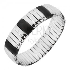 Rugalmas, acél karkötő, hosszúkás sávok, fekete és ezüst színben