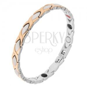 """Mágneses karkötő acélból, ezüst és arany szín, """"X"""" elemek, oválisok"""