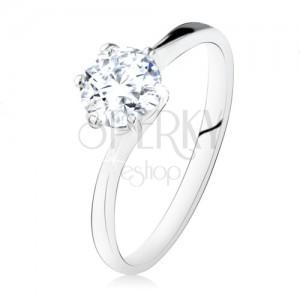 925 ezüst, eljegyzési gyűrű, kerek, átlátszó cirkónia, szűk szárak
