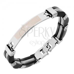 Acél karkötő, elemek ezüst színben, fekete, gumi részek, imaszöveg