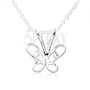 925 ezüst nyakék, pillangó kivágott szárnyakkal