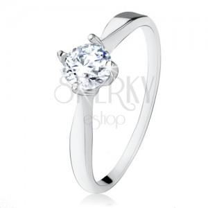 Ejegyzési gyűrű 925 ezüstből, csiszolt, átlátszó cirkónia, szűk szárak