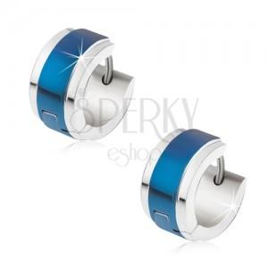 Fülbevaló acélból ezüst színben, kék, fényes sáv középen
