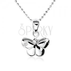 925 ezüst nyakék, kidomborodó pillangó, dísz cirkóniával