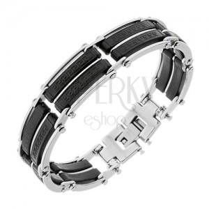 Acél karkötő, fekete gumi elemek sávokkal, ezüst színben, görög kulcs