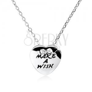 """925 ezüst nyakék, lapos szív """"MAKE A WISH"""" felirattal"""
