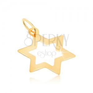 Medál 9K sárga aranyból - fényes hat ágú lapos csillag