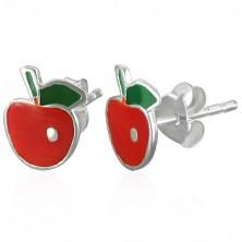 Bedugós ezüst fülbevaló - piros alma és zöld levél