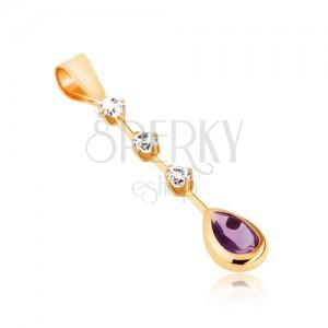 375 arany medál - könnycsepp alakú lila ametiszt, három, kerek, átlátszó cirkónia pálcikán