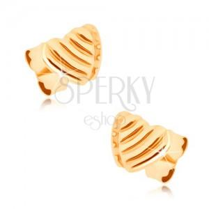 Fülbevaló 9K sárga aranyból - egymást fedő, két egyenletes szív, bemetszések