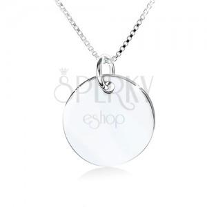 925 ezüst nyakék, tükörfényű kerek tábla minta nélkül