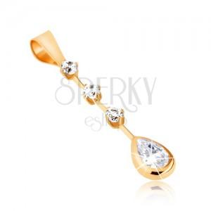 375 arany medál - átlátszó, könnycsepp alakú kő, három, kerek, átlátszó cirkónia pálcikán