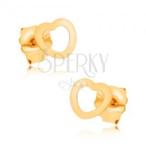 375 arany bedugós fülbevaló, fényes, kicsi, szimetrikus szív kontúr