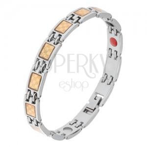 Acél karkötő ezüst és arany színben, sakktábla minta, mágnesek