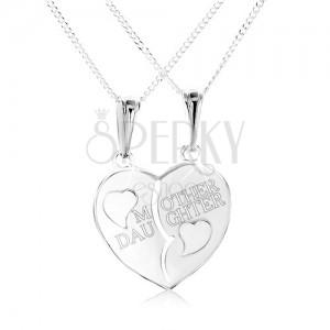 """925 ezüst nyakék, megfelezett szív """"MOTHER DAUGHTER"""" felirattal"""