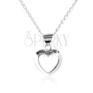 925 ezüst nyakék, szimetrikus szív kontúr
