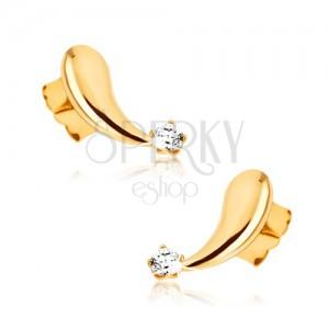 Fülbevaló 9K sárga aranyból - kidomborodó, tükörfényes könnycsepp, cirkónia