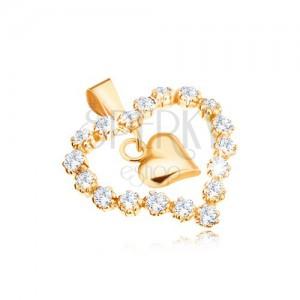 Medál 9K sárga aranyból, cirkóniás szív kontúr, fényes szív középen