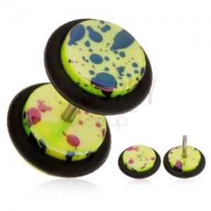 Hamis fülplug akrilból, neonsárga felszín, olaj foltok