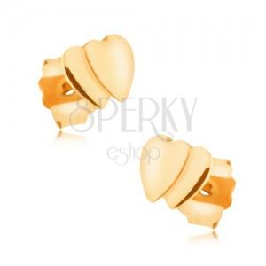Fülbevaló 9K sárga aranyból - két kis egymást takaró szabályos szívből