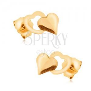 Arany fülbevaló 375 - fényes szabályos teljes szív és szabályos szívkörvonal