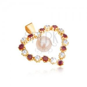 375 arany medál, szív kontúr cirkóniákból és piros rubínokból, fehér gyöngy