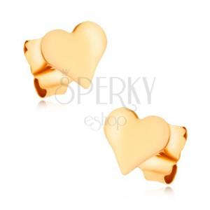 Fülbevaló 9K sárga aranyból - kicsi, sima, egyenletes szív, magas fény