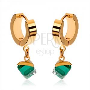Fényes fülbevaló acélból, arany színben, lógó, smaragdzöld kocka
