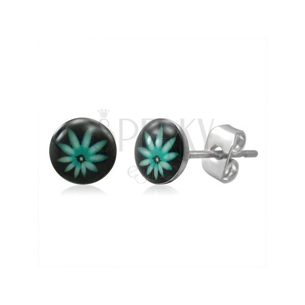 Acél fülbevaló - zöldes cannabis levél