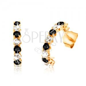 Fülbevaló 9K aranyból - félkörök, fekete zafírokkal és átlátszó cirkóniákkal