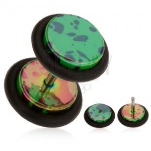 Fake plug fülbe, akril, sötétzöld alap, olajfoltok