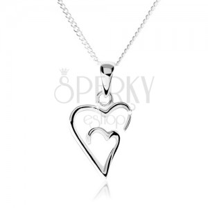 925 ezüst nyakék, kettős, aszimetrikus szív körvonal
