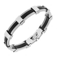 Karkötő gumiból és acélból, fekete és ezüst szín, görög kulcs