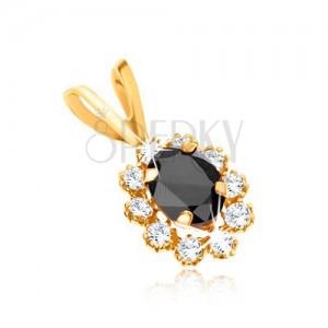Medál 9K sárga aranyból - ovális sötétkék zafír, átlátszó cirkóniás szegély