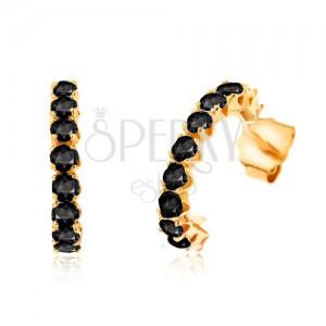 Fülbevaló 9K sárga aranyból - félkörök kerek fekete zafírokkal kirakva