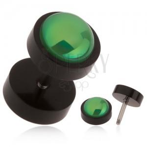 Fekete hamis plug fülbe akrilból, zöld golyó szivárvány fénnyel